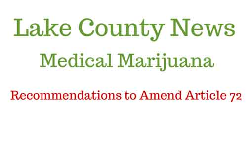 Recommendations To Amend Article 72, Lake County, Medical Marijuana